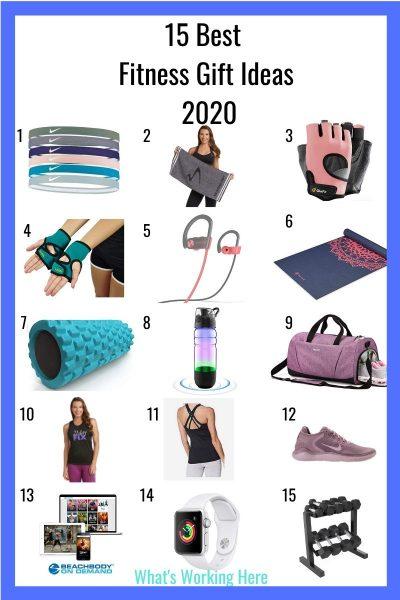 15 Fitness Gift Ideas 2020- headbands, workout towel, gloves, weighted gloves, headphones, yoga mat, foam roller, water bottle, gym bag, beachbody branded apparel, workout out top, sneakers, beachbody on demand, apple watch, dumbbell set
