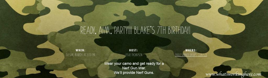 Soldier Nerf Gun Party Evite