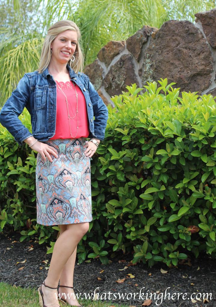 Karen Kane- Crystal Printed Aline Skirt