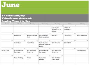 June 2016 Activity Calendar
