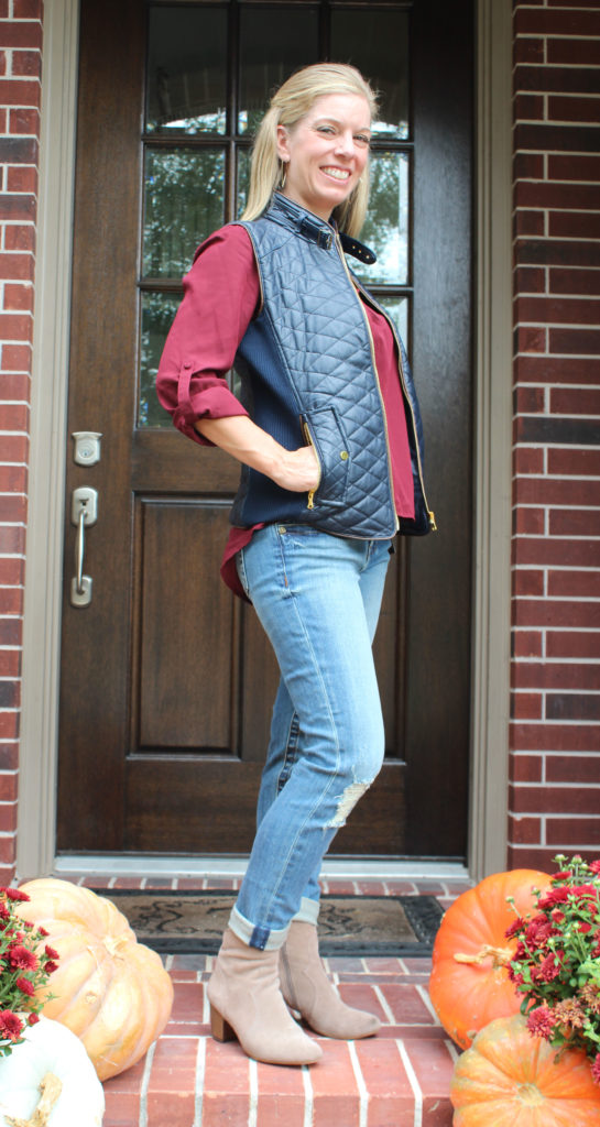 Stitch Fix- Sena Bar Back Blouse by 41Hawthorn & Rowen Faux Leather Quilted Vest by Fate andMaribel Distressed Straight Leg Jean by Kut From The Kloth