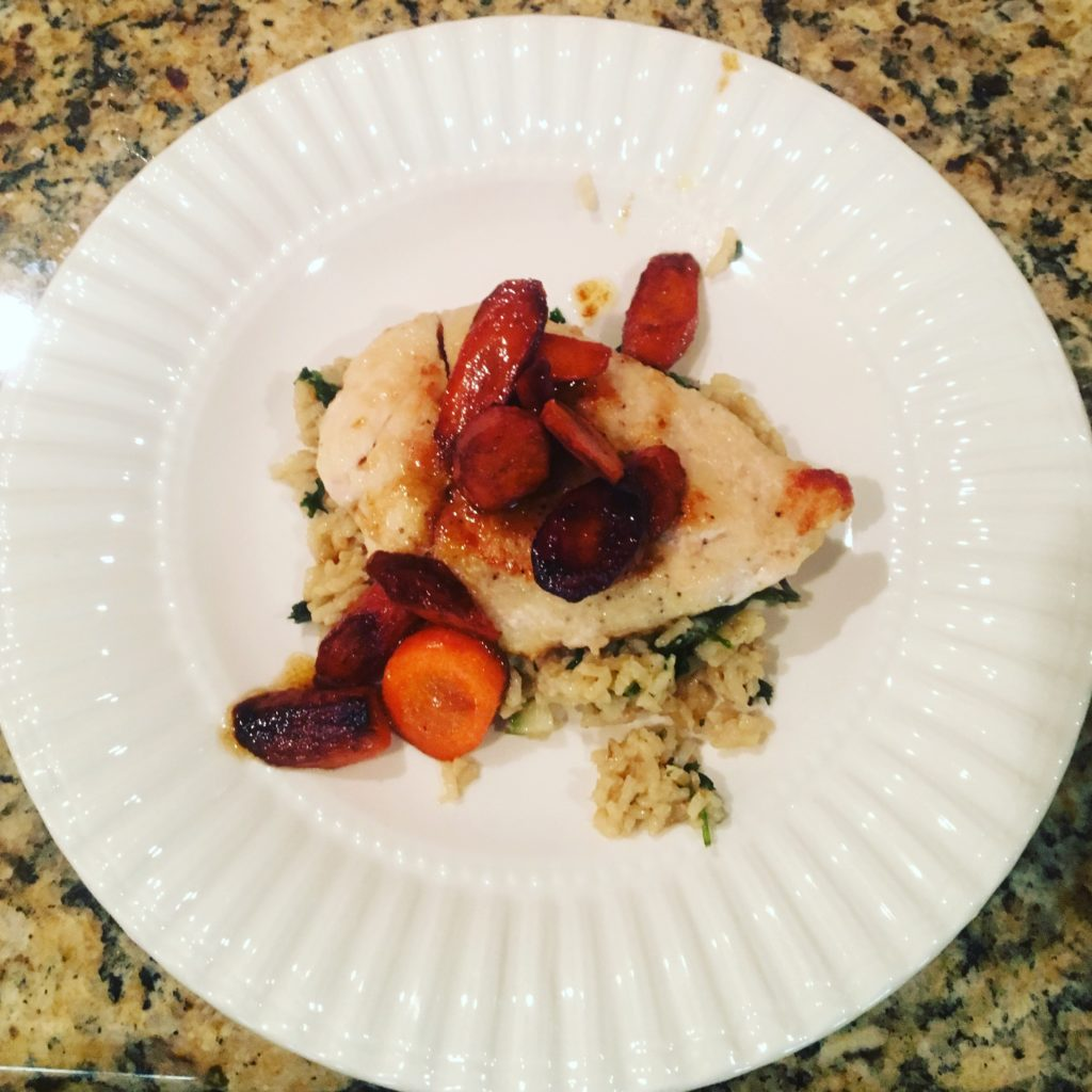 Blue Apron - Seared Chicken with Brown Rice and Glazed Carrots
