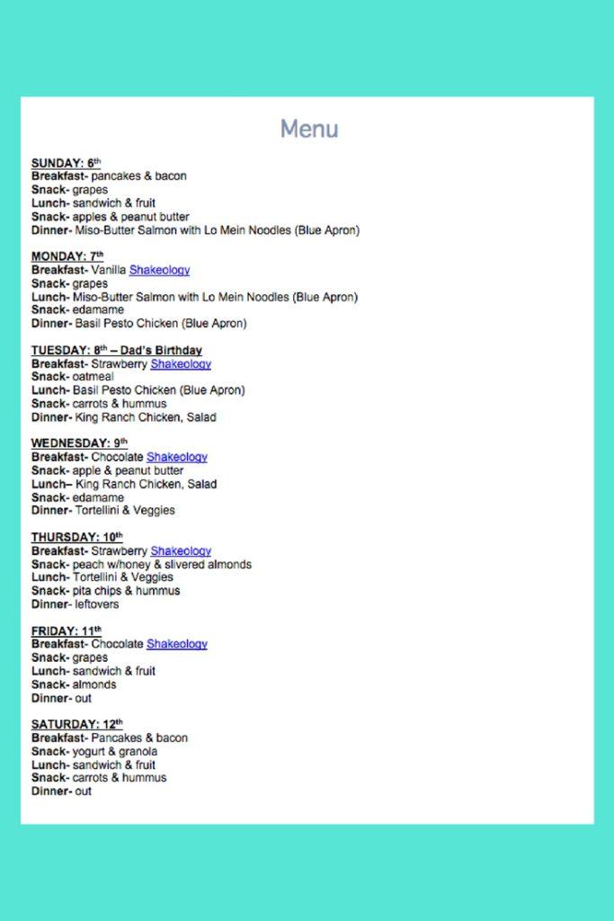 August 6th Weekly Menu
