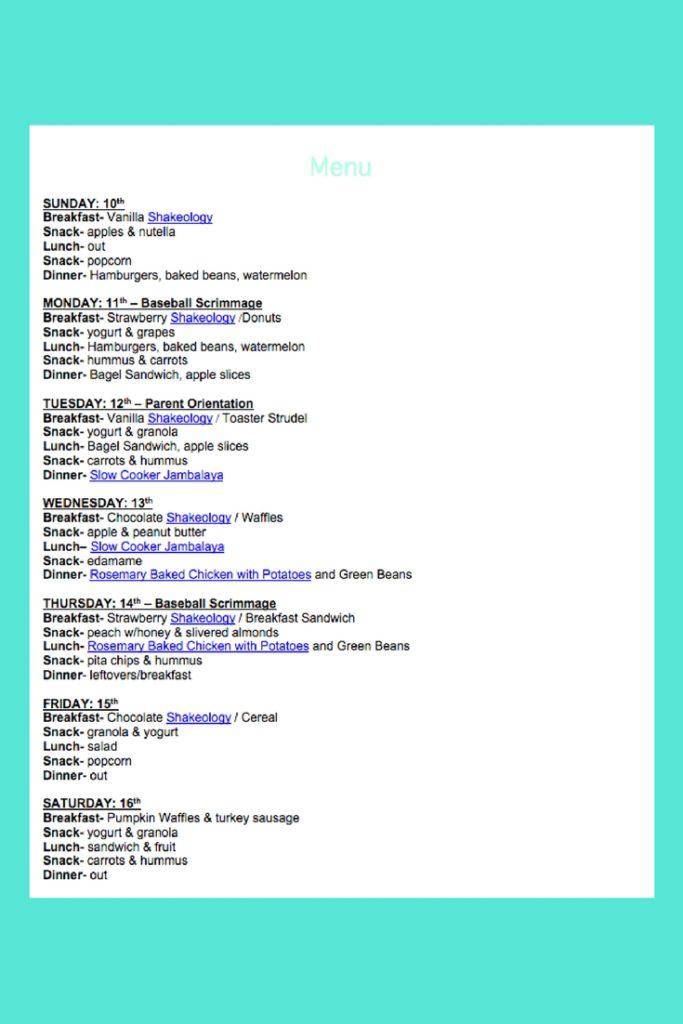 September 10th Weekly Menu
