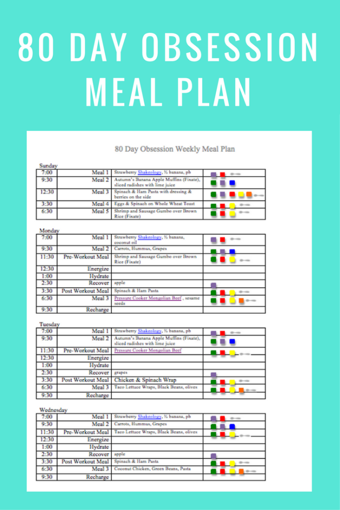 80 Day Obsession Meal Plan- jan 28