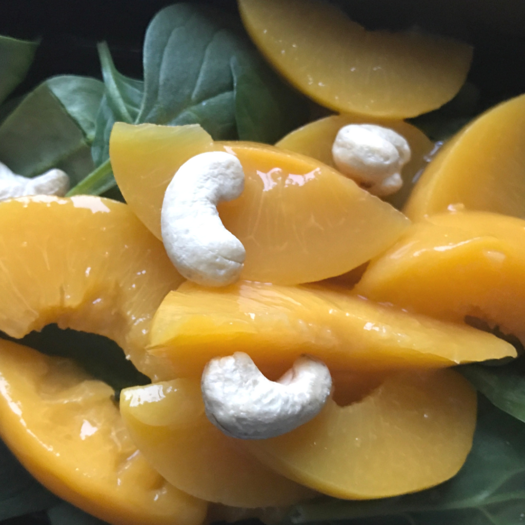 80 Day Obsession Snack Recipes- Spinach & Peaches with Cashews