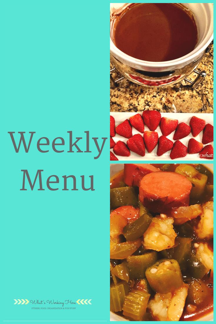 February 11th Weekly Menu - Valentine's Day Dinner