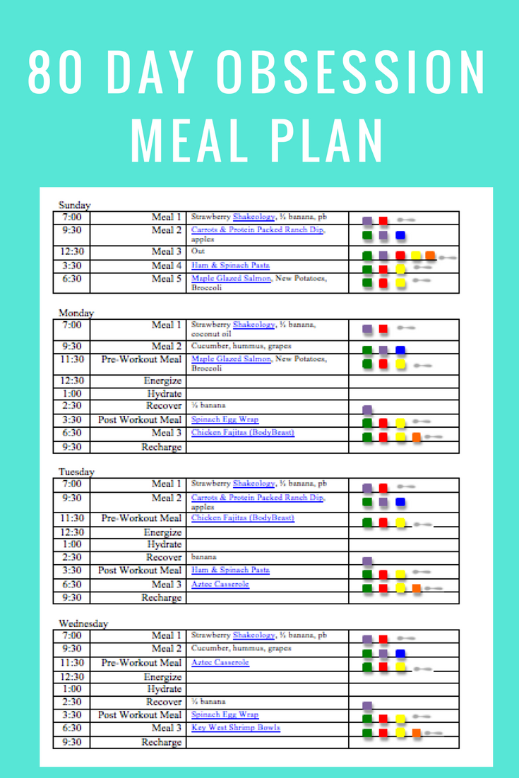 80 Day Obsession Meal Plan- march 25