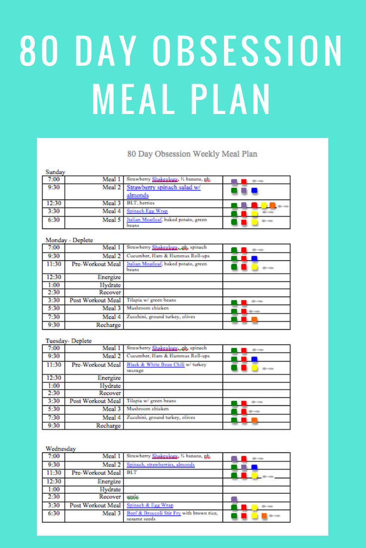 80 Day Obsession Meal Plan- April 8 - Peak Week