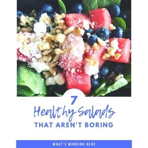 Watermelon blueberry spinach salad with feta & walnuts