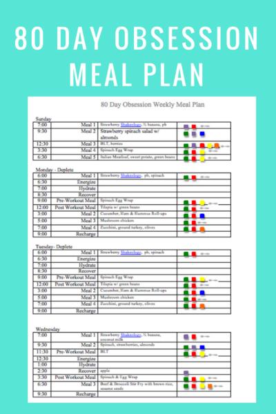 80 Day Obsession Meal Plan- Peak Week
