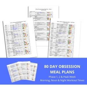 80 Day Obsession Meal plans- phase 1, 2 and peak week and morning, noon and night workout times-300