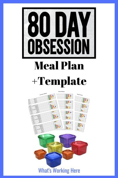 80 Day Obession Meal Plan + Template, portion control containers