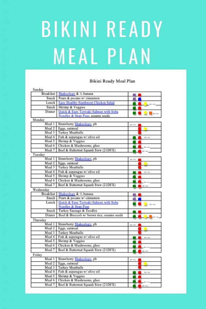 Bikini Ready Meal Plan- breakfast, lunch, dinner & snacks
