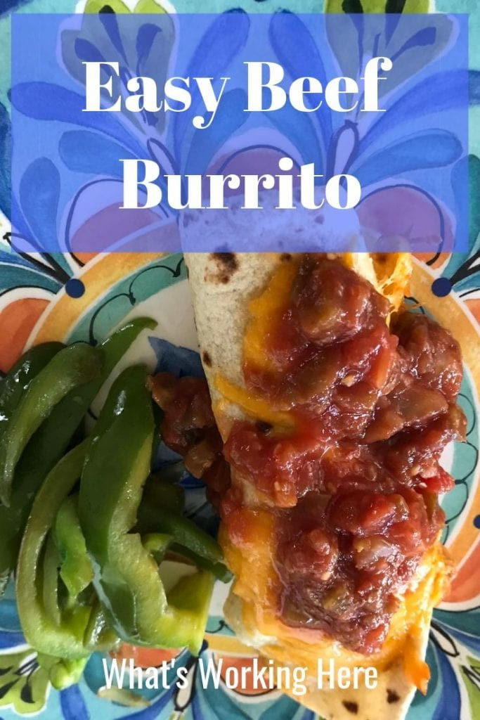 Easy Beef Burrito Recipe with sauteed bell pepper & onions