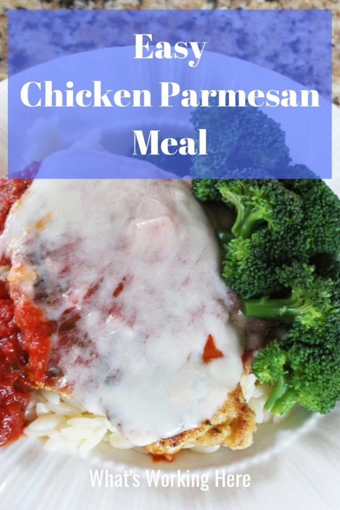 Easy chicken parmesan meal - chicken parmesan with orzo and steamed broccoli, a healthy meal ready in less than 30 minutes