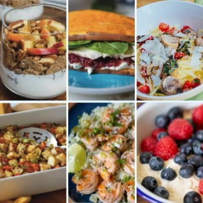 Favorite 2B Mindset Recipes - apple pie parfait, sweet potato sandwich, spaghetti squash with tomatoes, stuffing, Jamaican shrimp, deconstructed pbj