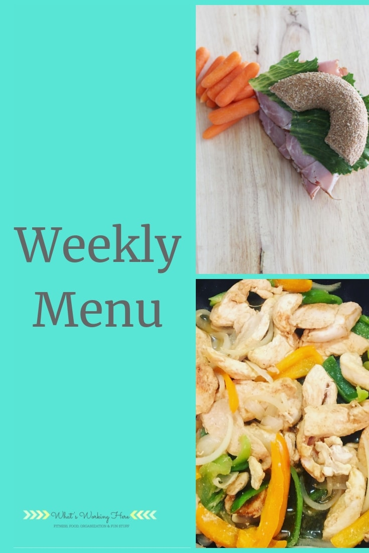 July 14th Menu - 80 Day Obsession Phase 2 Refeed Day - bagel sandwich & carrots, chicken fajitas