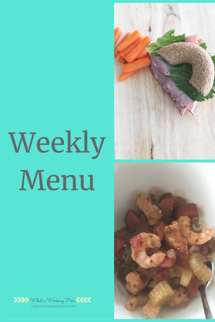 May 19 Weekly Menu - Bagel sandwich, shrimp & Sausage gumbo