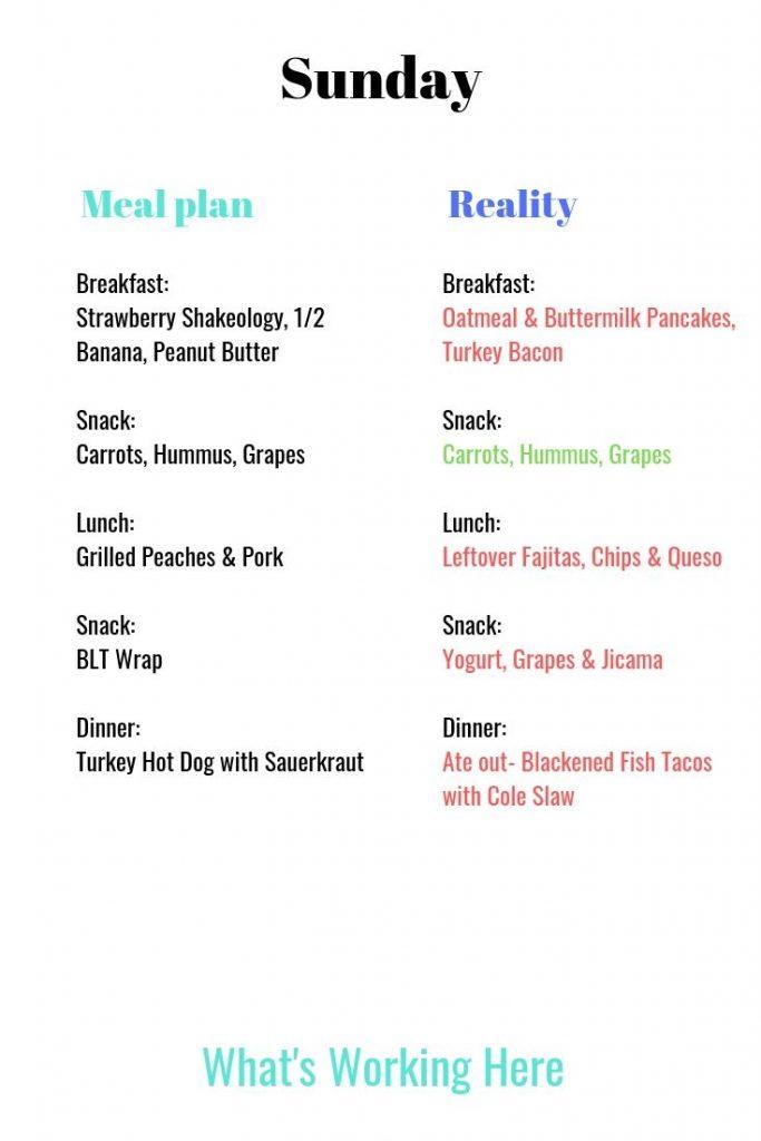 Meal Plan vs reality sunday