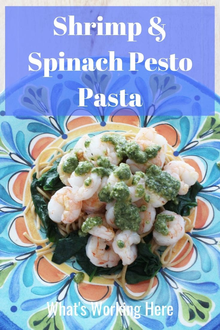 Shrimp & spinach pesto pasta