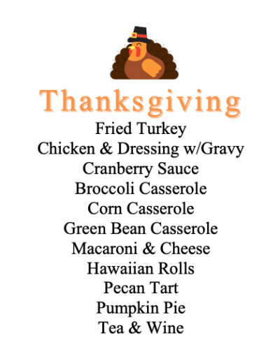Printable Thanksgiving Menu