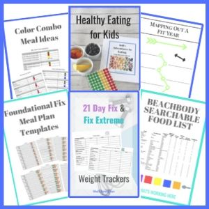What's Working Here Top Resources- meal plan template, kid's food tracker, searchable food list, weight tracker, fit year planner, portion fix color combo meal ideas