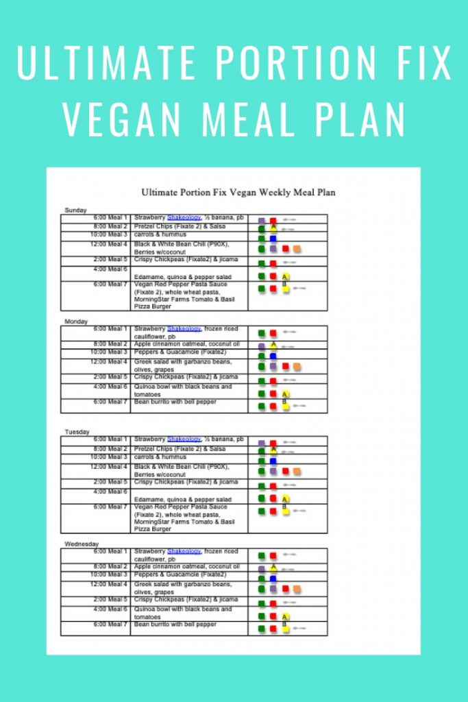 Ultimate Portion FIx Vegan Meal Plan template- March 24-2