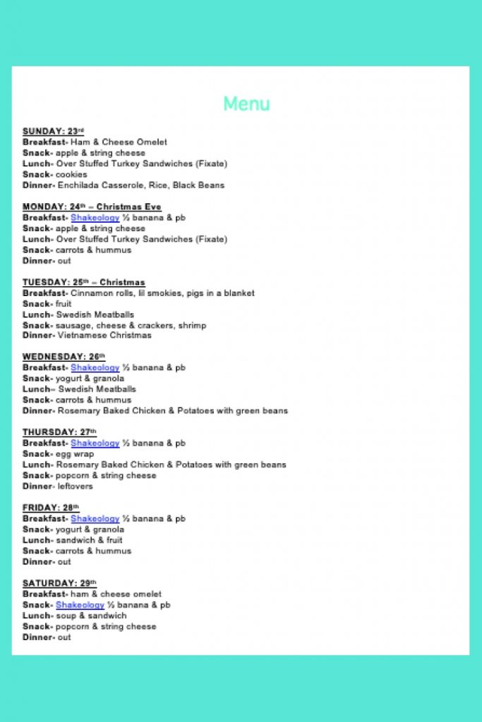 Weekly Menu- Dec 23
