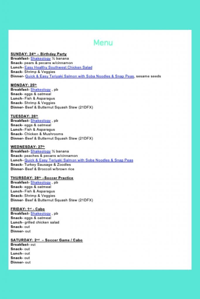 Weekly Menu- Feb 24 - breakfast, lunch, dinner & snacks