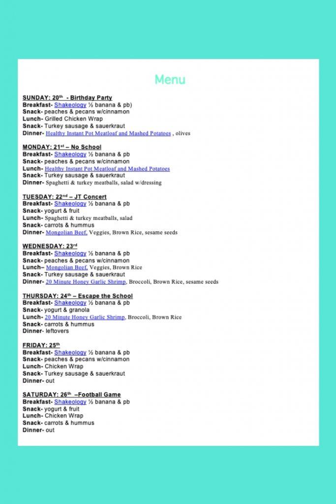 Weekly Menu- Jan 20