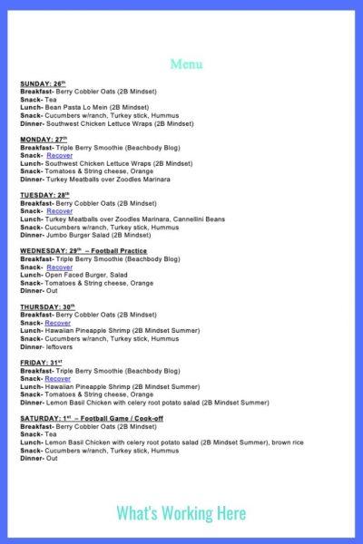 Weekly Menu- Jan 26 - 2B Mindset