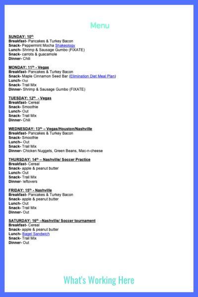 Weekly Menu- November 10