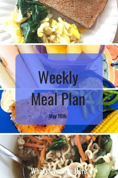 Weekly Meal Plan  Spinach & egg scramble, toast jicama, guacamole, mango Air fried catfish & green beans, corn on the cob Ramen