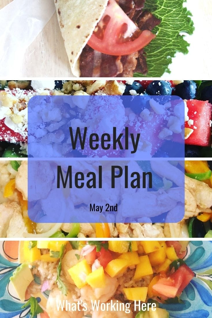 weekly meal plan 5/2/21 turkey blt wrap, watermelon, blueberry and spinach salad with feta and walnuts, chicken fajitas, key west shrimp
