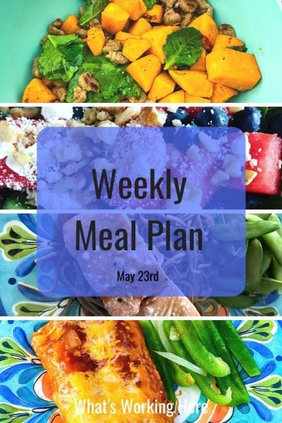 Weekly Meal Plan May 23rd Sweet Potato Breakfast Scramble Watermelon Spinach salad with feta Teriyaki Salmon with soba noodles and snap peas Chicken Enchiladas with Bell Pepper
