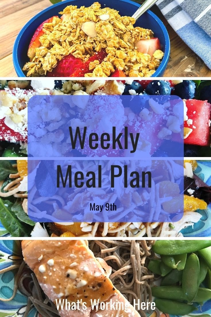 weekly meal plan 5/9/21 yogurt, strawberries & granola watermelon spinach salad with blueberries and feta Chinese Chicken Salad Teriyaki salmon, soba noodles, snap peas
