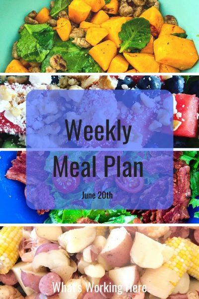 weekly meal plan sweet potato scramble watermelon spinach salad BLT Salad Shrimp Boil