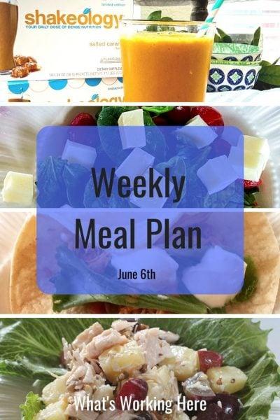 weekly meal plan salted caramel shakeology caprese salad fajitas chicken salad on greens
