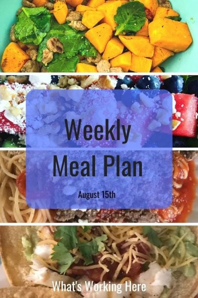 weekly meal plan sweet potato scramble watermelon & spinach salad Spaghetti with meat sauce Tilapia tostadas