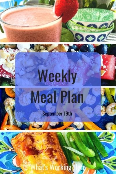 weekly meal plan strawberry shakeology watermelon, blueberry salad shrimp tacos enchiladas with bell peppers