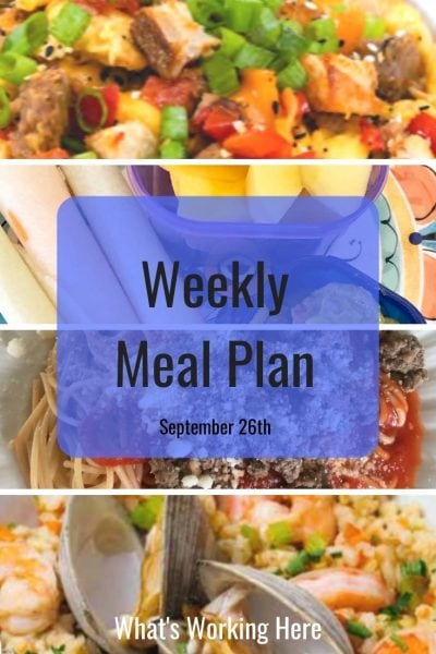 weekly meal plan Everything bagel breakfast scramble jicama, guac & mango spaghetti with meat sauce seafood risotto