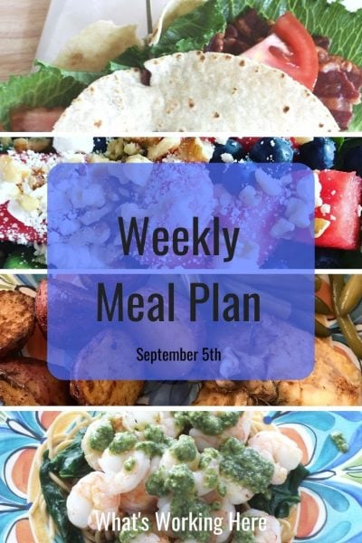 weekly meal plan turkey blt wrap watermelon spinach salad chicken with roasted potatoes & green beans Shrimp and spinach pesto pasta