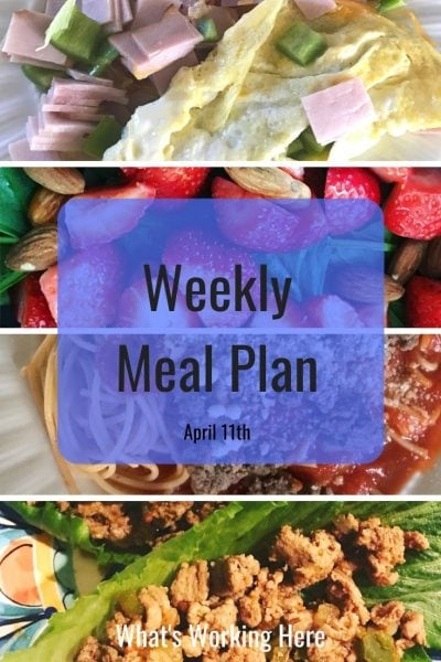 weekly meal plan 4/11/21 ham and bell pepper omelet, strawberry spinach salad with almonds, spaghetti with meat sauce, turkey taco lettuce wraps