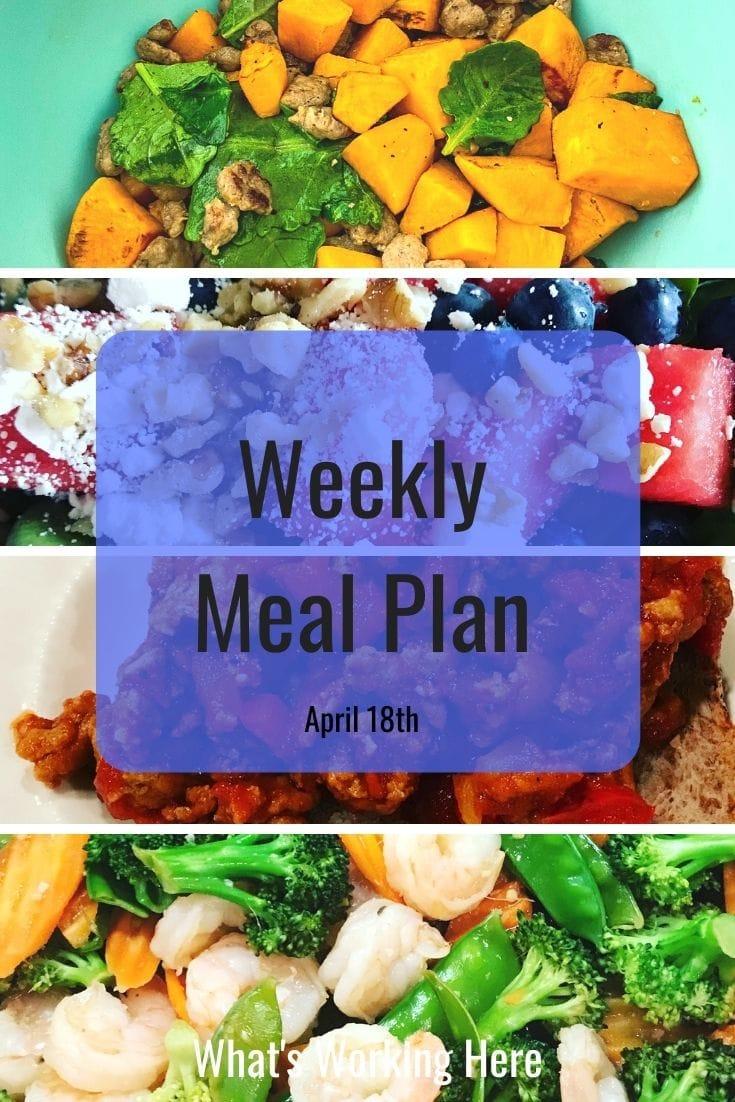 Weekly Meal Plan - Sweet Potato Breakfast Scramble, Watermelon, Blueberry, Spinach salad with feta and walnuts, Turkey Sloppy Joes, Shrimp Stir Fry