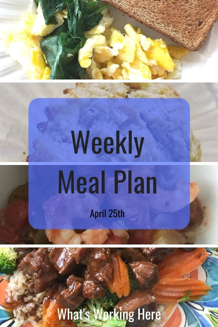 weekly meal plan spinach and egg scramble with toast, banana apple muffin, shrimp and sausage gumbo, instant pot mongolian beef with mixed veggies and brown rice