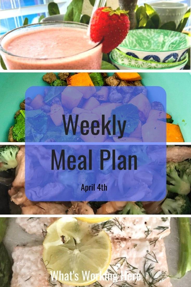 weekly meal plan- strawberry smoothie, sweet potato breakfast scramble, chicken broccoli stir fry, salmon