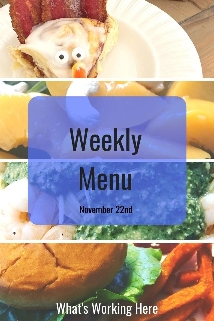 Weekly menu 11_22_20- turkey cinnamon rolls, peaches, shrimp pesto pasta, turkey burger and sweet potato fries