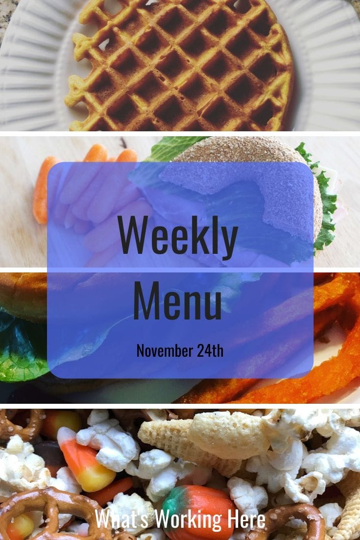 Weekly Menu -Breakfast, Lunch, Dinner & Snacks- Pumpkin Waffle, Bagel Sandwich, Turkey Burger & Sweet Potato Fries, Autumn Snack Mix