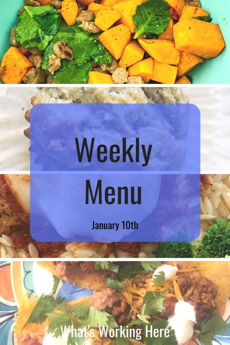 Weekly menu 1_10_21- Breakfast Scramble, apple banana muffin, tacos, chicken parmesan